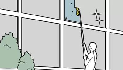تمیز کردن شیشه های بزرگ